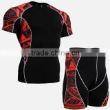 Compression base layer skin tight short sleeve athletic wear with low moq