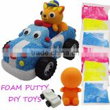 DIY craft Foam putty clay kit car toys for kids, foamy clay diy kit set, colored foam snow spume clay
