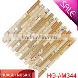 Strip beige glass mix shell diamond mosaic tile for construction wall decoration