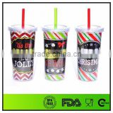 PS plastic material 20 oz double wall acrylic tumbler with straw wholesale with paper insert