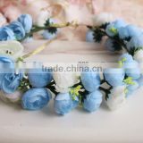 Hawaii Blue Rose Flower Wreath Bridal Party Woman Girls Flower Hair Accessory