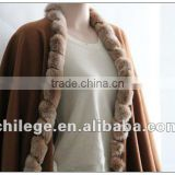 fashion, ladie's cashmere cape, with fox fur trim