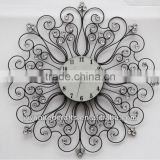 Cheap Fashion New design Mordern Home Decorative Artificial Shining Crystal Diomond Metal Wall Clock wholesale