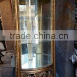 `golden carved corner showcase cabinet vitrine