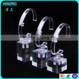 retail selling clear crystal watch stand, c ring holder single wrist watch display with c shape rack