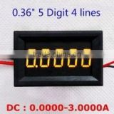 "Wholesale 0.36"" DC 0-3.0000A Yellow Led Five Digits Digital Ammeter"