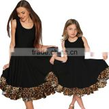 Beautiful Girls Women Matching Dresses Sleeveless Summer Fancy Pleated Ruffle Hem Black Leopard Mother And Daughter Dress Design