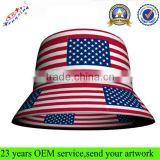Custom Printed Cheap Blank Cool American Flag Print Pattern Bucket Hat