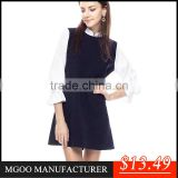 MGOO ODM/OEM New Arrive Summer Clothes Dresses For Women White Black Contrast Ruffles Sleeves A line High Fashion Dresses