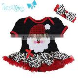 girls black with leopard santa claus dress with headband fashion baby clothes for chirtsmas