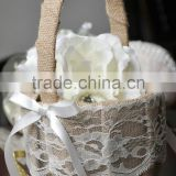 2014 High quality burlap cloth flower girl baskets for wedding favor/ Bridal flower basket decoration with lace