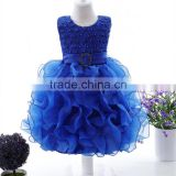 Wholesale new model beaded organza sleeveless ball gown baby party wear dress