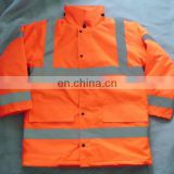 high vis safety traffic jacket/high visibility reflective mens winter workwear uniform/orange high vis work wear jacket