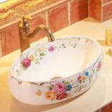 Bathroom porcelain western color painted ceramic sinks