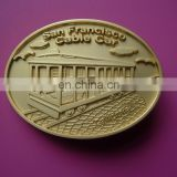 Matte Golden embossed San Francisco Cable car logo metal belt buckles