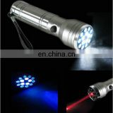 10LED + 5UV LED + 1 Red Laser Aluminum Multifunction UV Flashlight