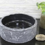 Black Limestone Bathroom Vessel Round Sink Cheap Stone Wash Basin