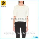 Custom Wholesale Cheap Hot Sale Embellished Silk T shirt for Lady