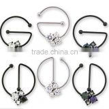 Laying G with CZ 4-crystals 316L surgical steel Nipple Piercing rings Body Jewelry