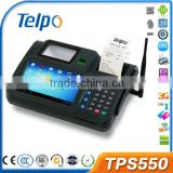 2014 TPS550 with card reader camera, 1D/2D Barcode Scanner, Finger Print Scanner nfc touch screen cheap android pos with printer