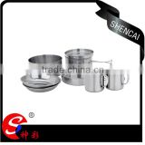 wholsale stainless steel 8pcs picnic cookware ,camping cookware set