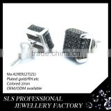 925 sterling silver fashion jewelry earring with black Zircon Stone, Screw needle square earring silver jewelry