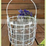 wholesale colorful iron basket with handle glass inside candle holder