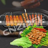 Square shape non-stick cast iron BBQ grill griddle pan with folding wooden handle Cnzidel
