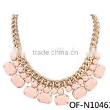 New Arrival 2014 Fashion hot-sale bead stone statement necklace with colorful and best price