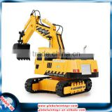 Durable rc construction toy trucks for kids, 8-channel rc caterpillar excavator with lights and sound