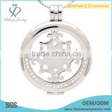 New arrival crystal coin necklace pendant with plate,stainless steel coin locket design