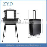 The Europe And America Vintage Aluminum All Black Pro Studio Makeup Rolling Case Artist ZYD-HZ82801