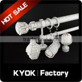KYOK Europe style luxury white crackle finish curtain rod,aluminum curtain rod accessories,living room curtian rods