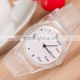 Stock!New Arrival Cheap Fashion High Quality English number Transparent Plastic Sports Watch for Gift