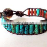 Beaded Leather wrap bracelet - blue turquoise stone with button clasp