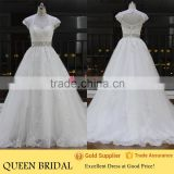 China Custom Made White Wedding Dress Lace Tulle Beading Elegant QUEEN BRIDAL                                                                         Quality Choice