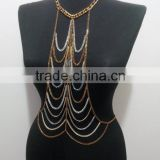 2015 high quality New Diamond Body Chain Ladies Charm Gold Black Tassels Link Body Shoulder Chain