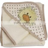baby bathing hooded towel wash mitt set with duck applique