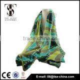 pattern printing polyester women's fashion scarf green shawl sarong