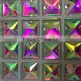 high quality super shine 14x14mm square shaped sew on stone with double hole for evening dress