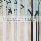 Trees and bird 2 Woodland Modren High Quality Landscape Handmade Art Wall Paintings on board Oil Painting