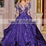 Style Z121035 appliqued transparent corset purple long sleeve evening dress