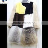 Luxurious Top Quality Patchwork Mink Fur Lady Winter Coat with Golden Island Fox Fur Trimming