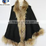 Wholesale Elegant Women Cashmere Cape with Real Raccoon Fur Trim
