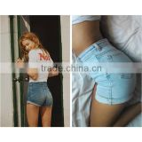 2016 Summer Fashion Women Sexy Mini High Waisted Denim Shorts Ladies Stylish Integral Tight Distressed Jeans Hot Pants