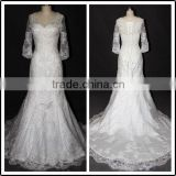 Long SLeeve Lace White Sweetheart Neckline Floor Length Custom Made Long Formal Bridal BW286 wedding dresses real samples