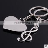 Wholesale music metal key chains/ Heart shape metal key chains/Piano metal key chains