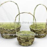 S/3 MUSTARD WASH ROUND BAMBOO CHIP/SEAGRASS BASKET W/HANDLE
