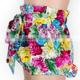 2017 New Style Baby Girls Cotton Booty Bloomers Soft Summer Toddler Shorts Wholesale Baby Floral Shorts With Bow On The Front