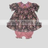 Infant/Toddler Girl Fabric Floral Smocked Baby Cute Bloomers Set
